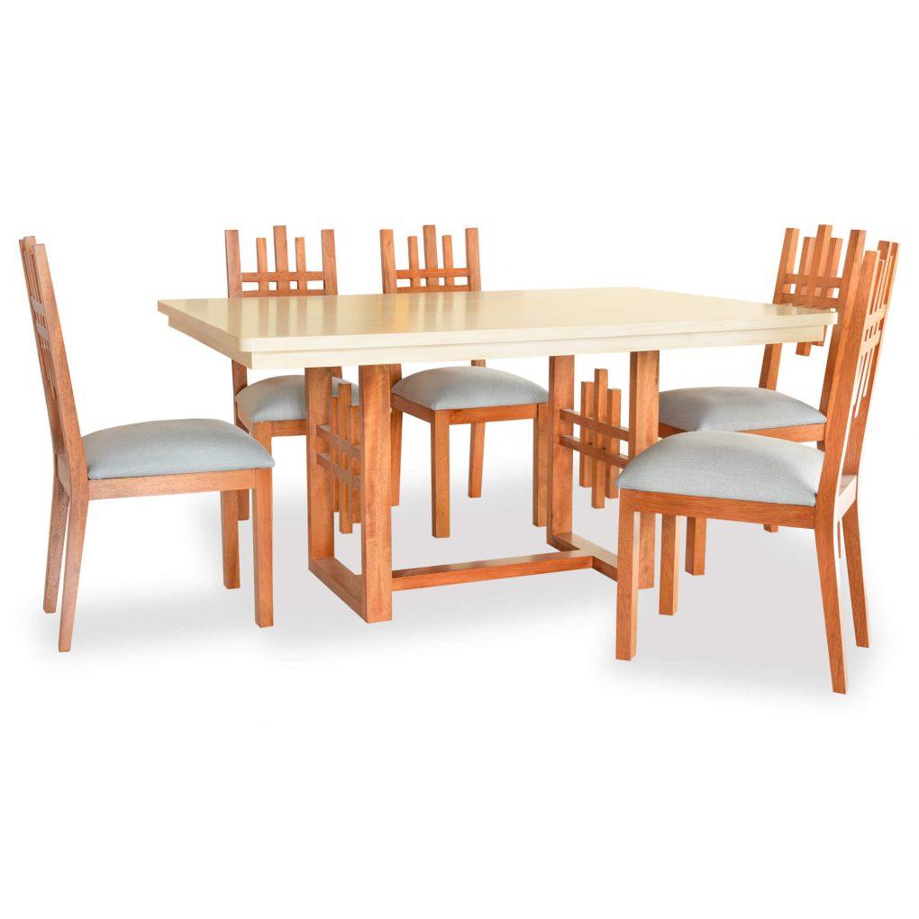 Mesa de comedor en madera sólida seike color miel y beige, mesas modernas, mesas lineales, mesas de vanguardia