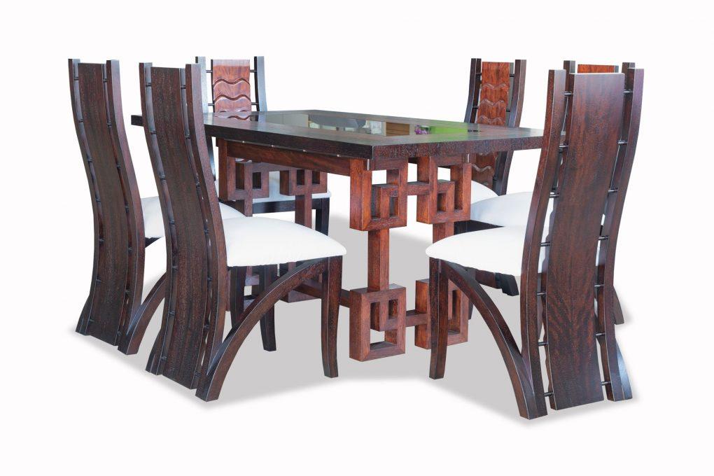 Mesa de comedor en madera sólida seike y vidrio color wengue con café, mesas modernas, mesas lineales, mesas de vanguardia