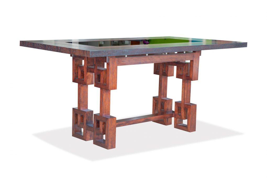 Mesa de comedor en madera sólida seike color café con wengue, mesas modernas, mesas lineales, mesas de vanguardia, Quito, Ecuador
