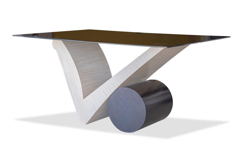Mesa de comedor en madera sólida seike color beish, mesas modernas, mesas lineales, mesas de vanguardia