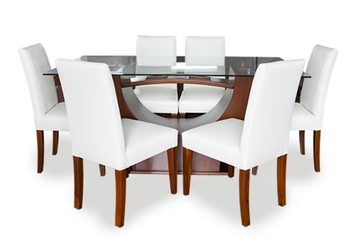 Mesa de comedor mixta de vidrio con madera color café, sillas en madera de laurel color café con tapiz en cuero sintético color blanco, mesas modernas, lineales, mesas de vanguardia, Quito, Ecuador