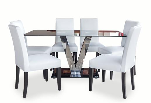 Mesa de comedor importada mixta de vidrio negro y acero inoxidable, sillas en madera de laurel color wengue con tapiz en cuero sintético color blanco, mesas modernas, lineales, mesas de vanguardia, Quito, Ecuador