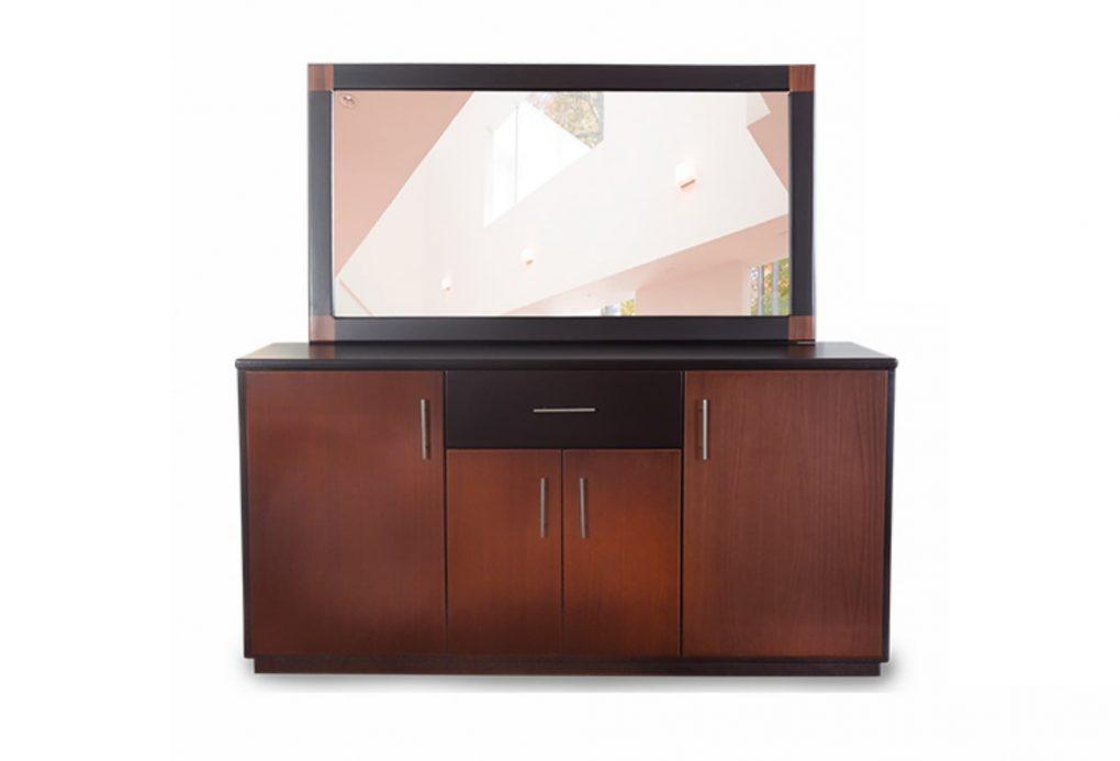 Bufetero lineal con un cajón y 4 puertas muy práctico, fabricación mixta madera y tableros decorativos, color wengue con café, incluye marco y espejo.
