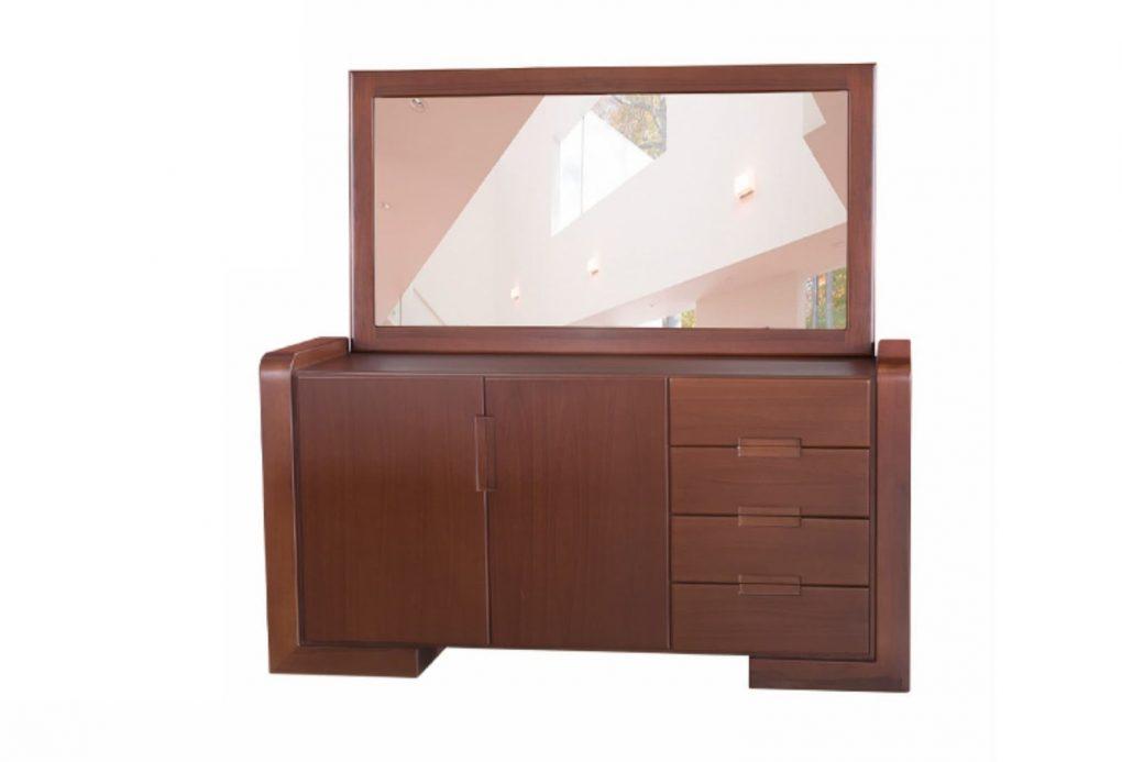 Bufetero lineal con 4 cajones y 2 puertas muy práctico, fabricación mixta madera y tableros decorativos, color café, incluye marco y espejo, muebles lineales, muebles de comedor, mesas, sillas de comedor, muebles personalizados, Quito, Ecuador