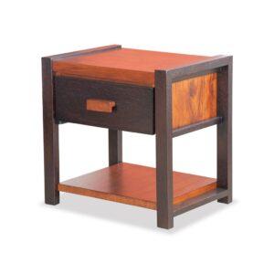 Velador dormitorio en madera de seike color wengue con café