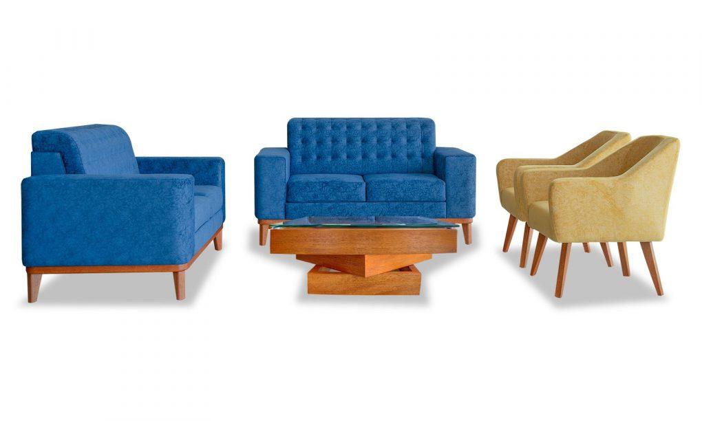 Sala lineal, sofas color azul y poltronas color mostaza