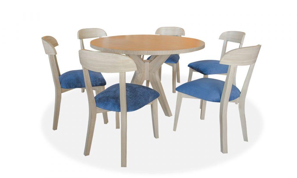 Comedor en madera sólida de seike color beige ; incluye 6 sillas con un tapiz azul hermoso.