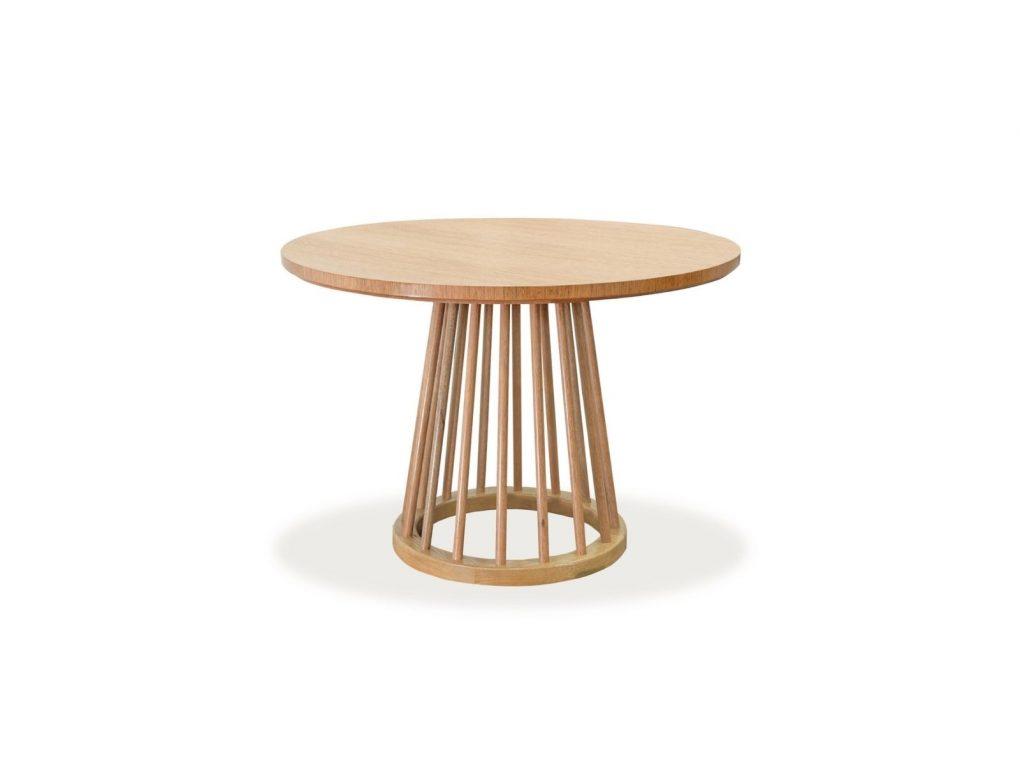 Mesa redonda de madera seike, color natural