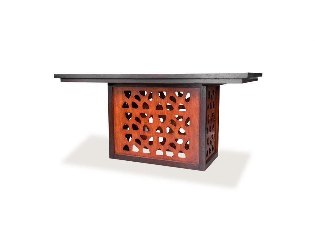 Mesa de madera seike color café con coco