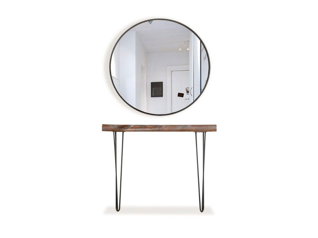 Consola con espejo, en metal y tronco